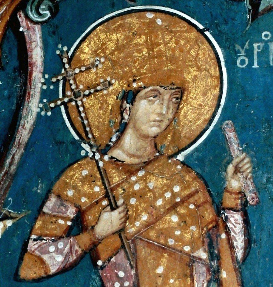 """Святой Стефан Урош V, царь Сербский. Фрагмент фрески """"Лоза Неманичей"""". Монастырь Высокие Дечаны, Косово и Метохия, Сербия. До 1350 года."""
