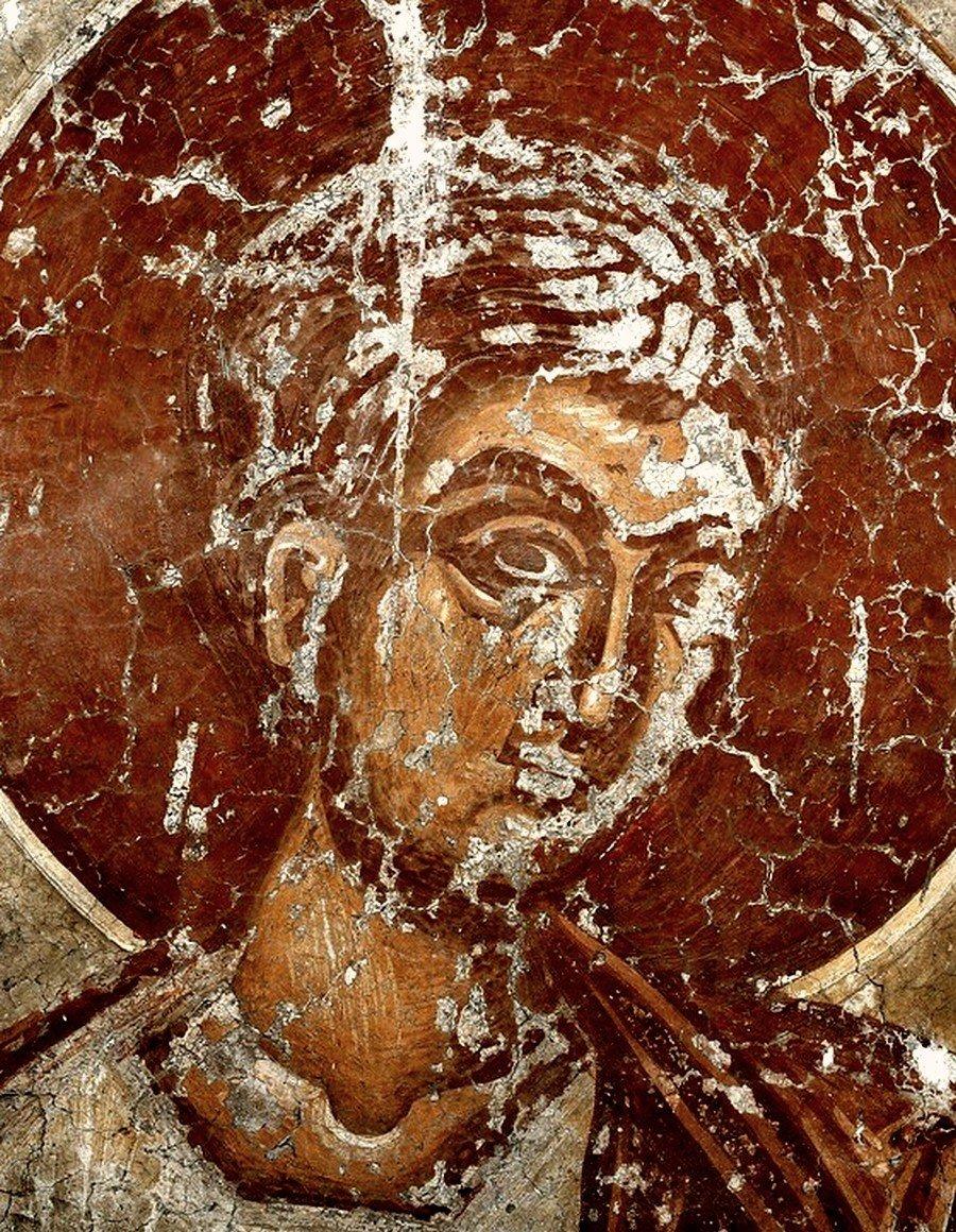 Святой Пророк Аввакум. Фреска церкви Спаса в Призрене, Косово и Метохия, Сербия. XIV век.