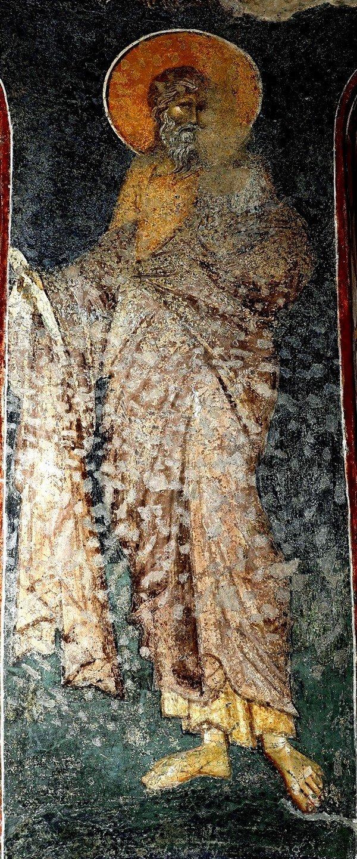 Святой Пророк Софония. Фреска церкви Богородицы Левишки в Призрене, Косово и Метохия, Сербия. Около 1310 - 1313 годов. Иконописцы Михаил Астрапа и Евтихий.