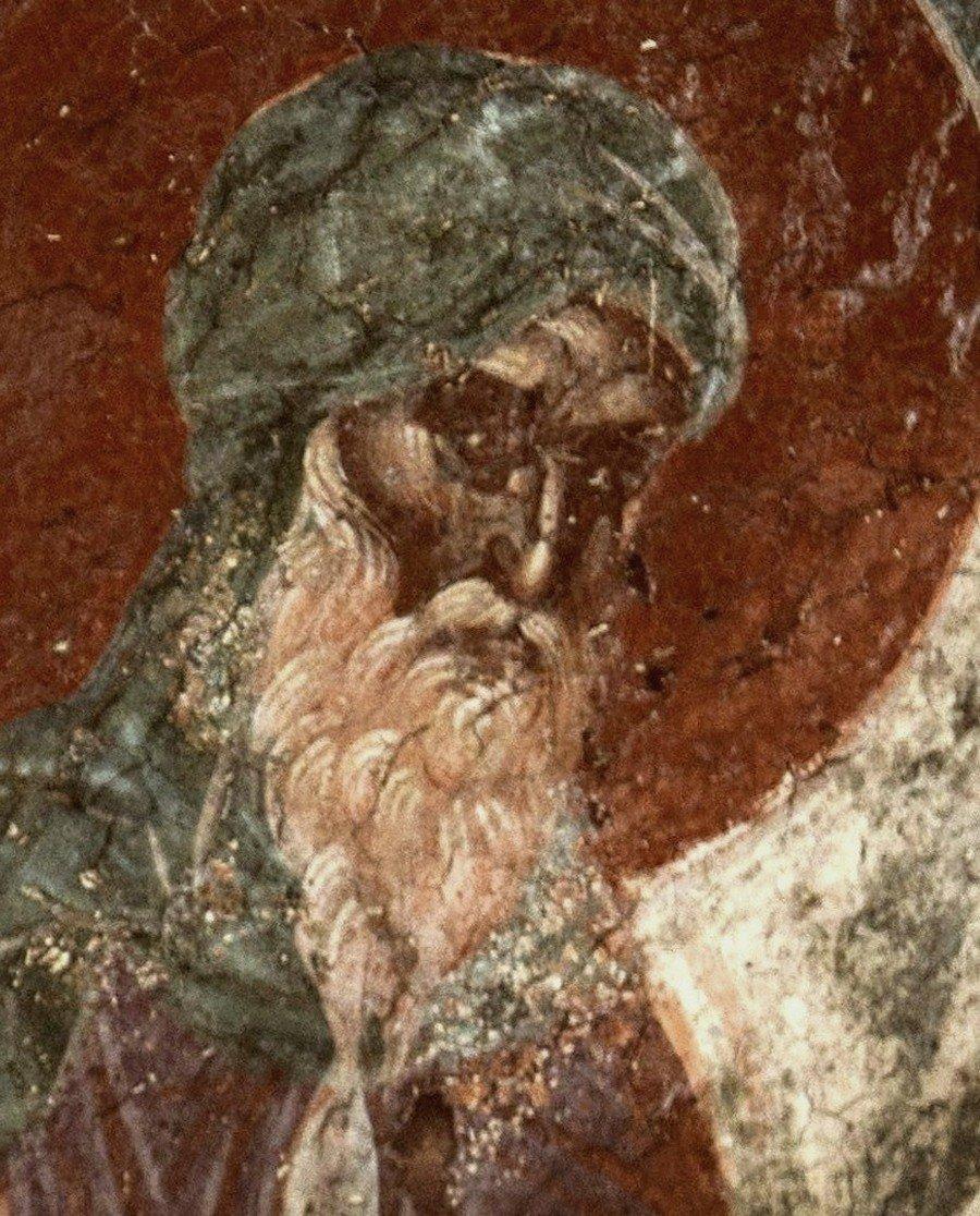 Святой Преподобный Иоанн Дамаскин. Фреска церкви Святого Никиты в Чучере близ Скопье, Македония. Около 1316 года. Иконописцы Михаил Астрапа и Евтихий.
