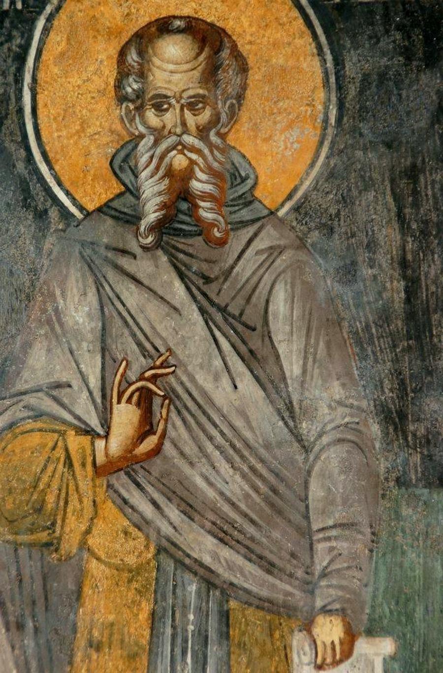 Святой Преподобный Савва Освященный. Фреска монастыря Бистрица, Румыния. Около 1495 года.