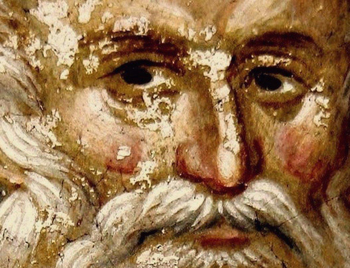 Святой Преподобный Савва Освященный. Фреска монастыря Грачаница, Косово и Метохия, Сербия. Около 1320 года.