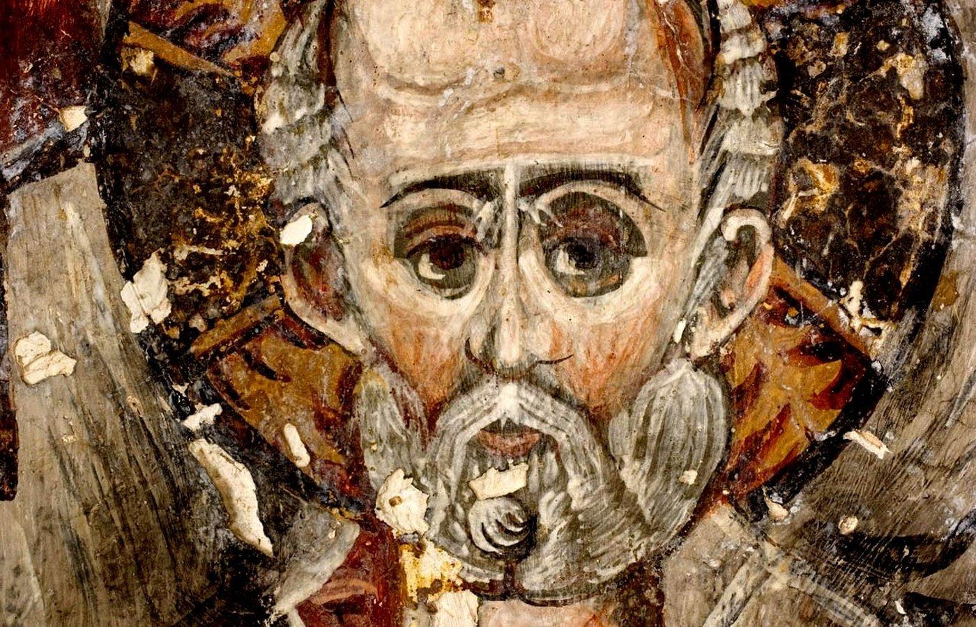 Святитель Николай, Архиепископ Мир Ликийских, Чудотворец. Сербская икона. Фрагмент.