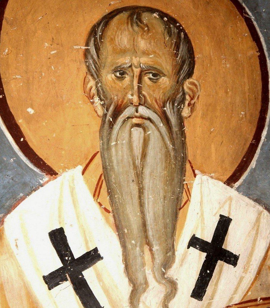 Святитель Амвросий, Епископ Медиоланский. Фреска церкви Богородицы в монастыре Студеница, Сербия. 1208 - 1209 годы.