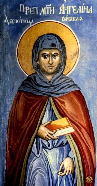 Святая Преподобная Ангелина, деспотица Сербская. Фреска сербского монастыря Хиландар на Афоне.