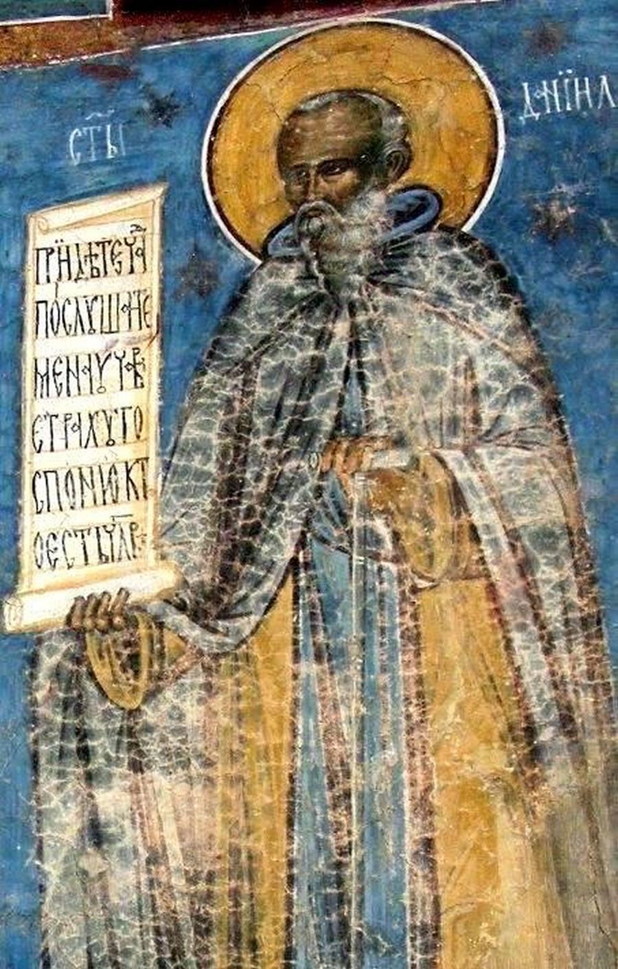 Святой Преподобный Даниил Исихаст. Фреска монастыря Воронец, Румыния. 1547 год.