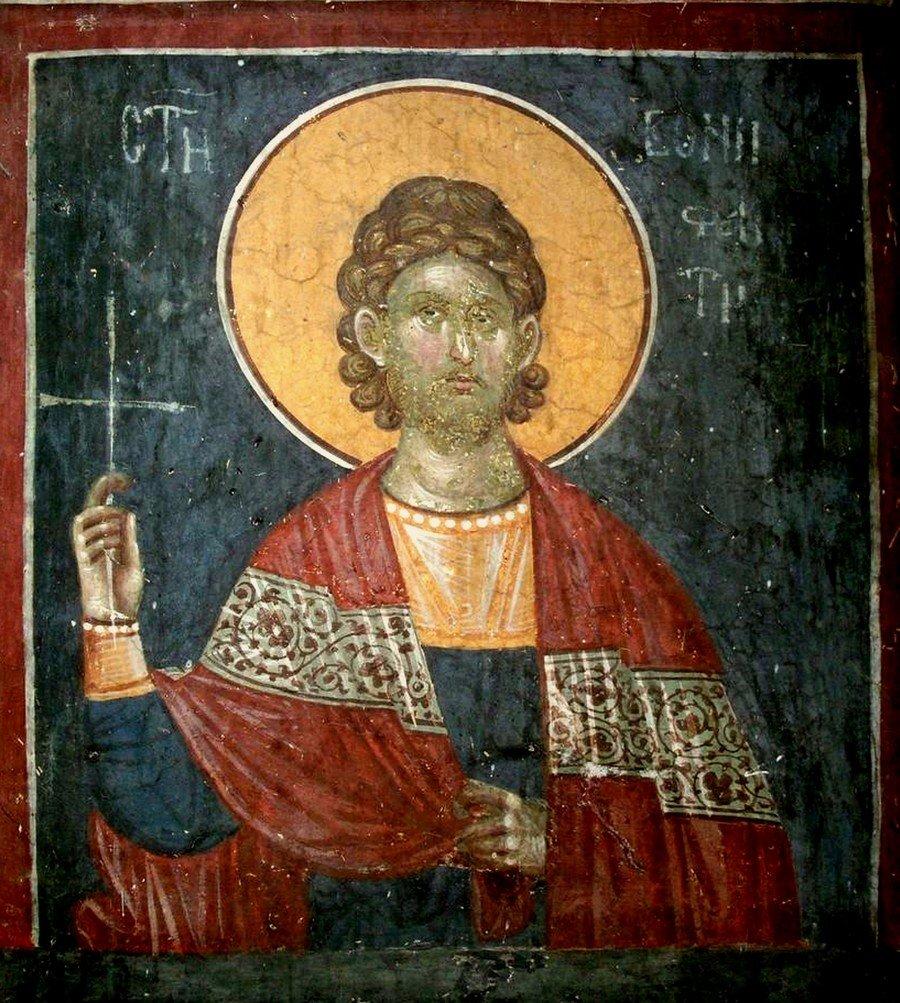 Святой Мученик Вонифатий Тарсийский. Фреска монастыря Грачаница, Косово и Метохия, Сербия. Около 1320 года.