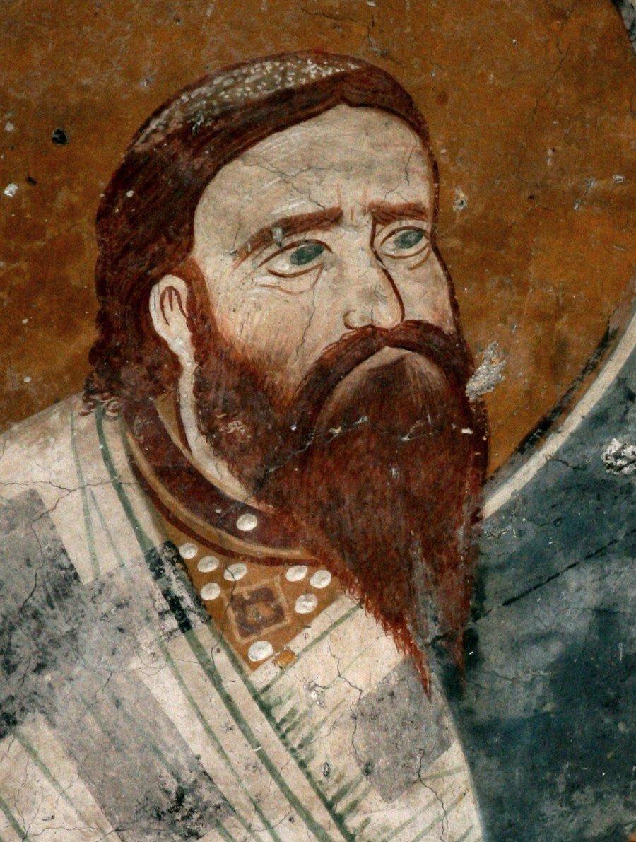 Святитель Даниил II, Архиепископ Сербский. Фреска притвора монастыря Печская Патриархия, Косово и Метохия, Сербия. XIV век.