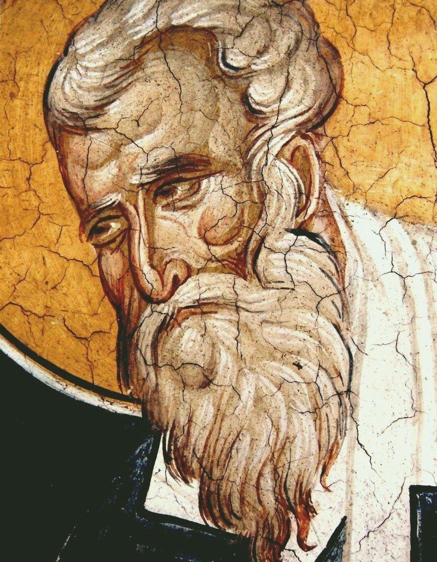 Священномученик Игнатий Богоносец, Епископ Антиохийский. Фреска монастыря Высокие Дечаны, Косово и Метохия, Сербия. До 1350 года.