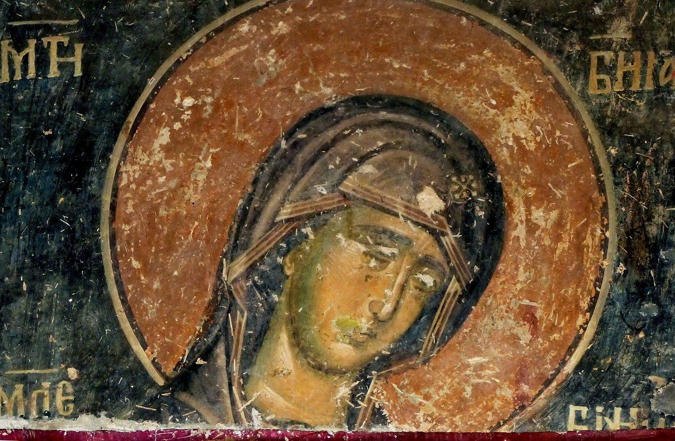 Мати Божия Молебница. Фреска церкви Святого Николая в монастыре Псача, Македония. 1365 - 1377 годы.