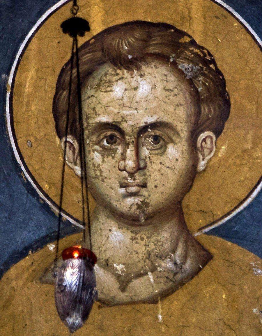 Христос Эммануил. Фреска монастыря Высокие Дечаны, Косово и Метохия, Сербия. До 1350 года.