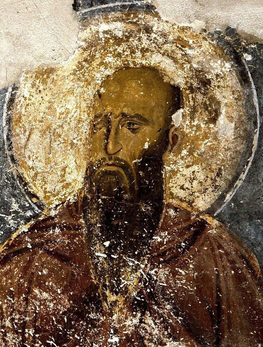 Святой Преподобный Феодор Начертанный, Исповедник. Фреска церкви Богородицы в монастыре Студеница, Сербия. 1208 - 1209 годы.