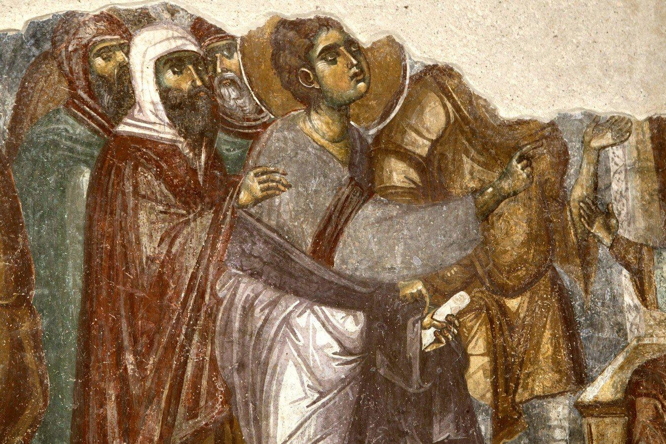 """Ведение Святого Первомученика Стефана на казнь. Фреска церкви Вознесения Господня (""""Спасов дом"""") в монастыре Жича, Сербия. 1309 - 1316 годы."""