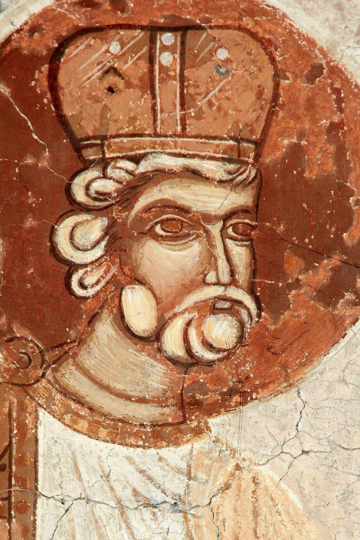 Святой Пророк Царь Давид. Фреска церкви Святого Георгия в Призрене, Косово и Метохия, Сербия. XVI век.