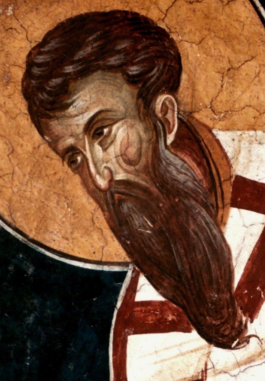 Святитель Василий Великий, Архиепископ Кесарии Каппадокийской. Фреска монастыря Высокие Дечаны, Косово и Метохия, Сербия. До 1350 года.