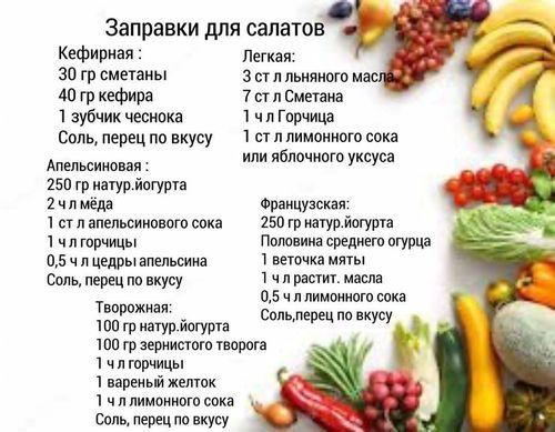 Заправки для салатов.