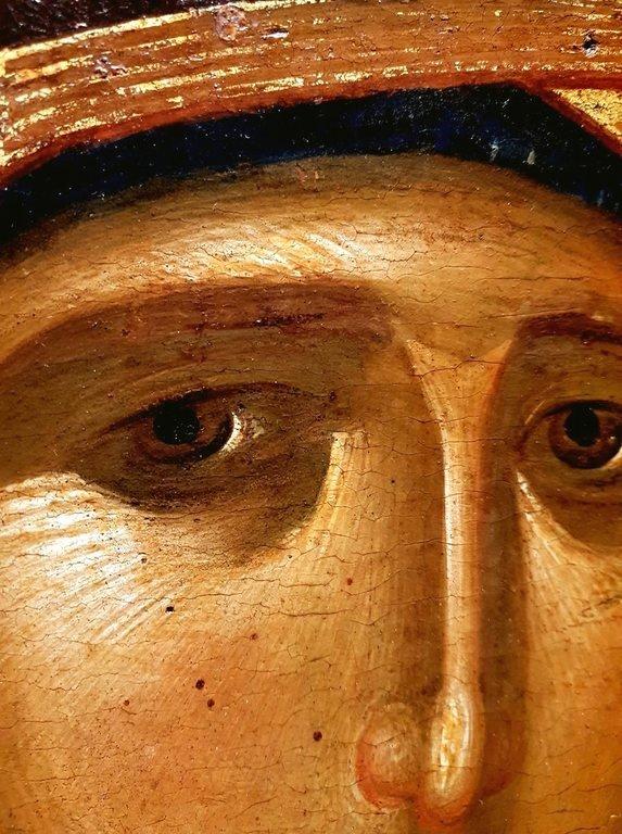 Богоматерь Одигитрия. Византийская икона XIV века. Церковь Св. Димитрия в Афитосе, Халкидики, Греция. Фрагмент.