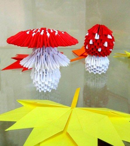 """Модульное оригами """"Мухоморы""""."""