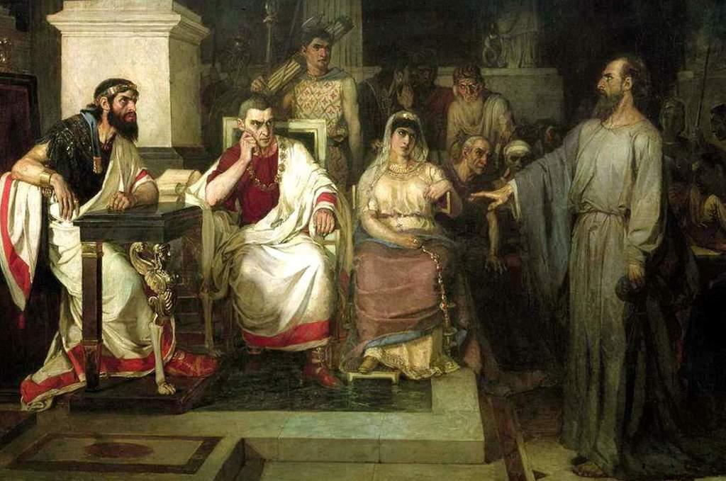 СУРИКОВ Василий - Апостол Павел объясняет догматы веры в присутствии царя Агриппы, сестры его Вереники и проконсула Феста( Фрагмент картины).