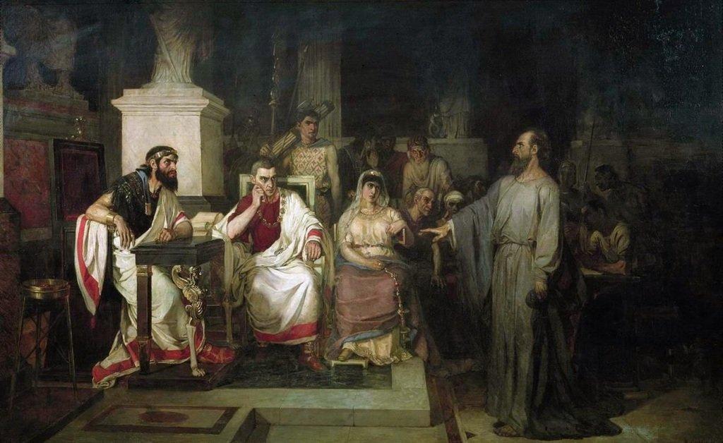 Суриков Василий Иванович Апостол Павел объясняет догматы веры в присутствии царя Агриппы, сестры его Береники и проконсула Феста. 1875.