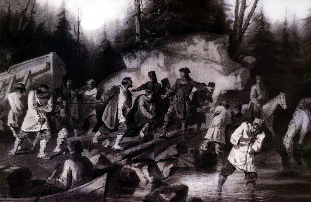 Василий Иванович Суриков . Петр I перетаскивает суда из Онежского залива в Онежское озеро в 1702 году. 1872