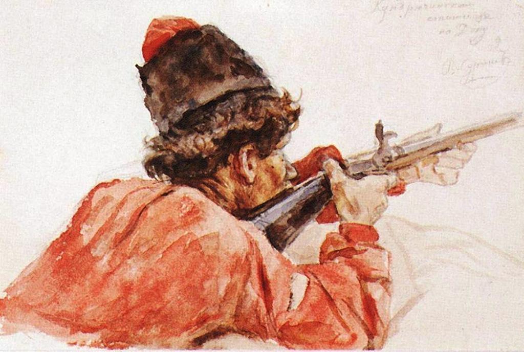 Василий Иванович Суриков  Стреляющий казак. 1893.