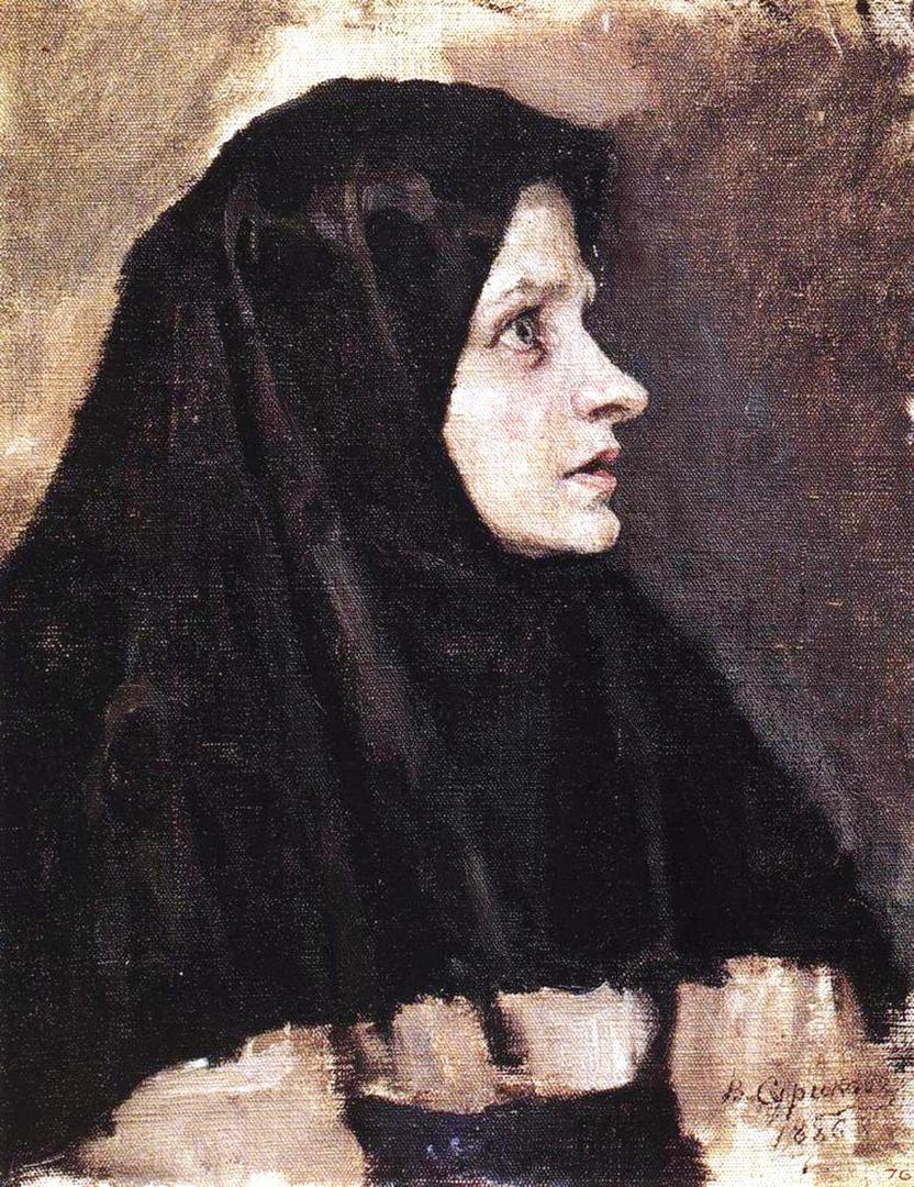 Василий Иванович Суриков  Голова женщины в черном платке. 1886.j