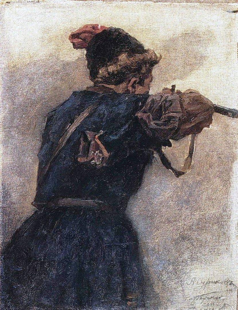 Василий Иванович Суриков  Стреляющий казак. 1890-е.