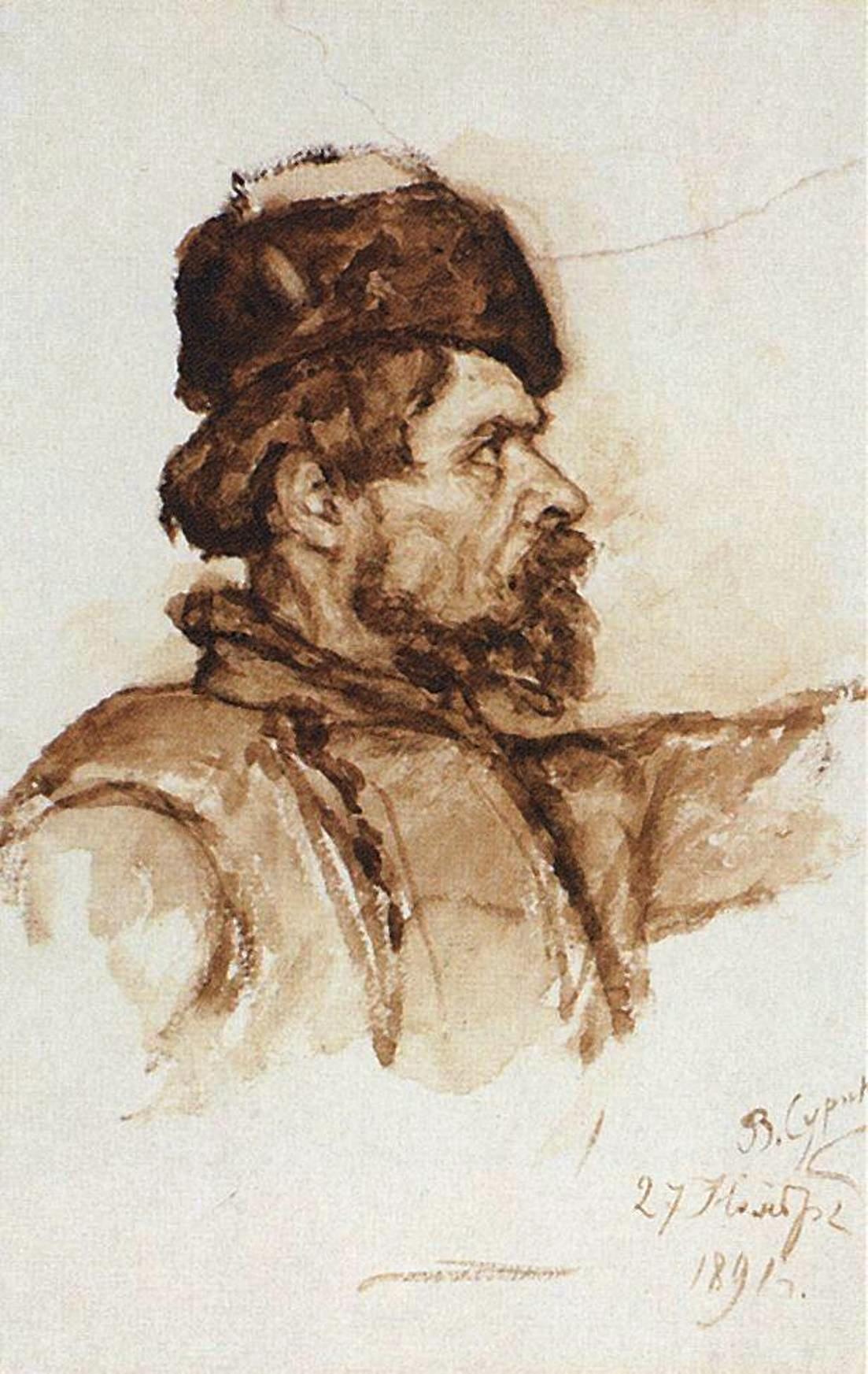 Василий Иванович Суриков   Голова казака. 1891.