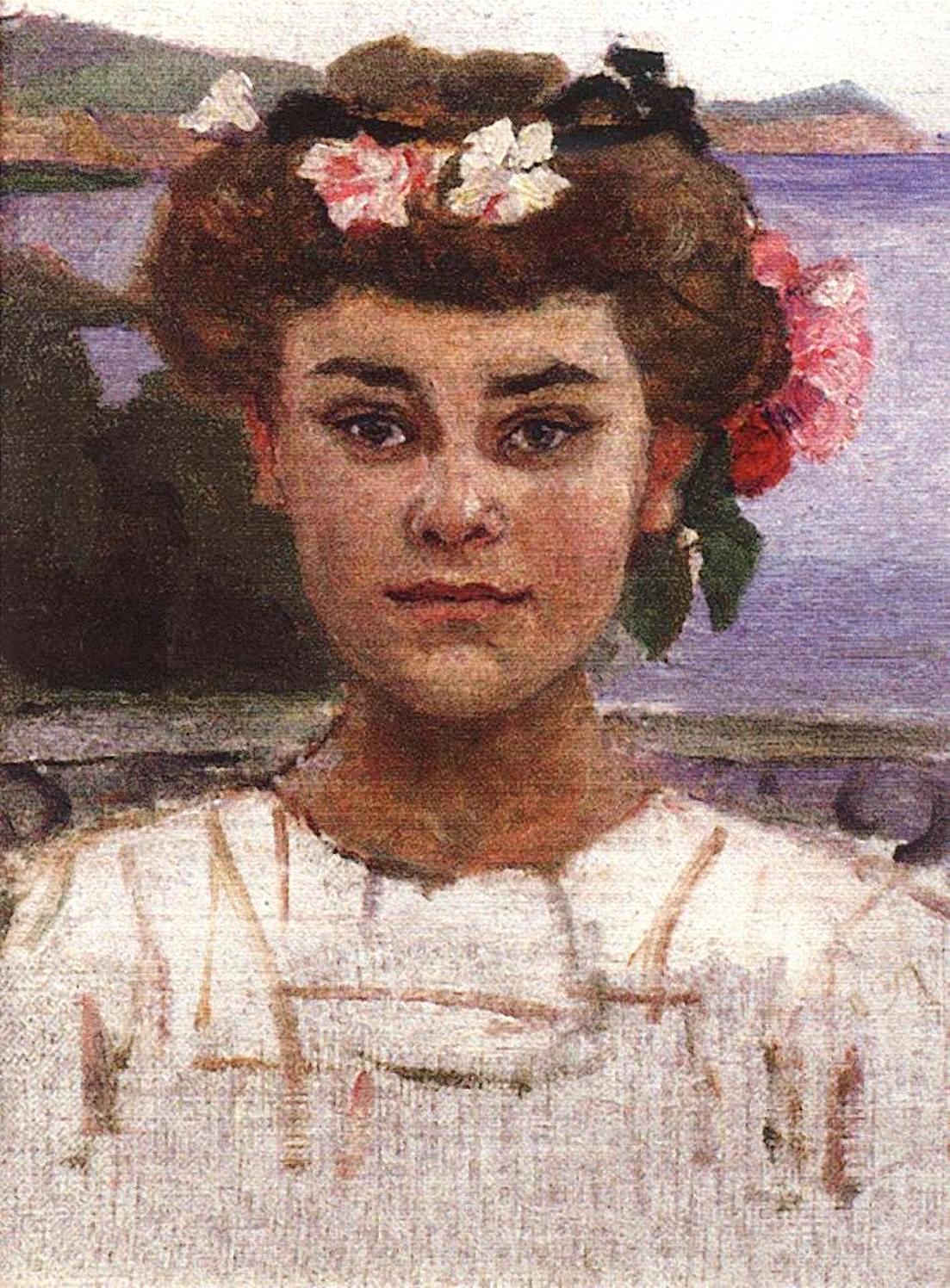 Василий Иванович Суриков Головка девушки. Портрет З. С. Хаминовой. 1908.
