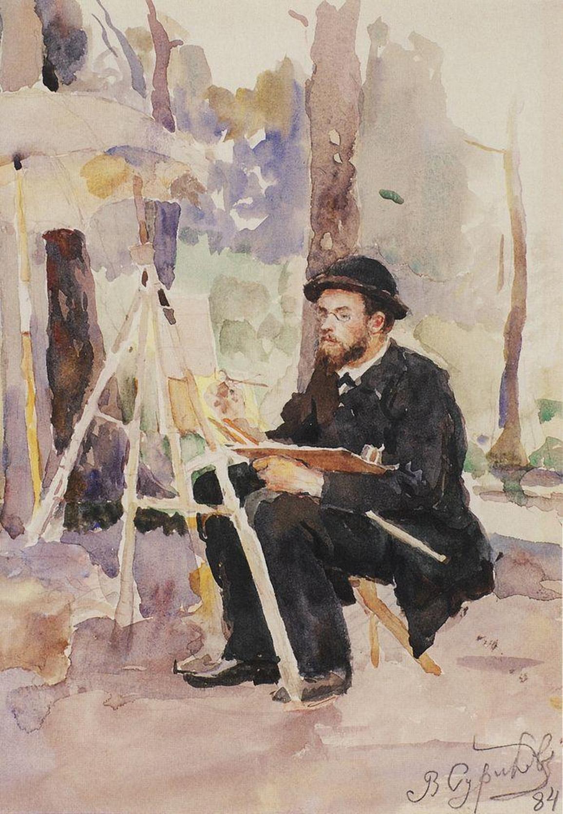 Василий Иванович Суриков – Портрет И. С. Остроухова. 1884.