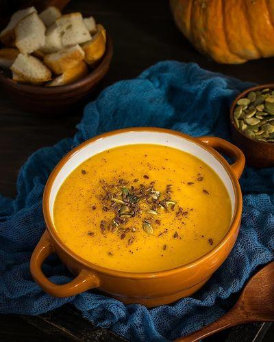 ОБЕД .Тыквенный суп с чечевицей.