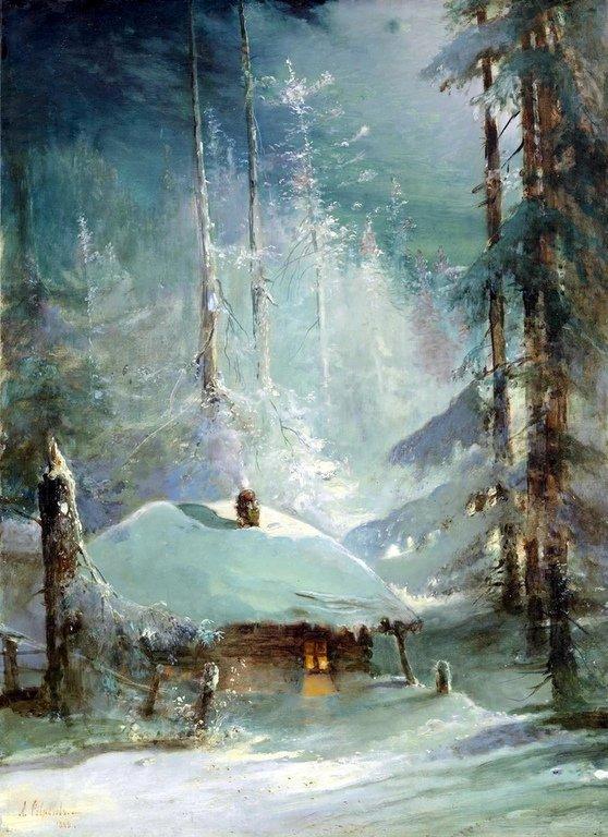 Хижина в зимнем лесу. Саврасов.
