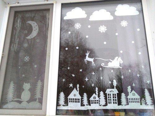 Новогодняя панорама на окне.