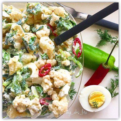 Овощной салат с цветной капустой.