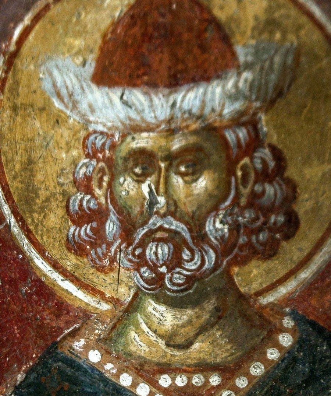 Святой Мученик Мардарий Севастийский. Фреска церкви Святого Афанасия ту Музаки в Кастории, Греция. 1383 - 1384 годы.