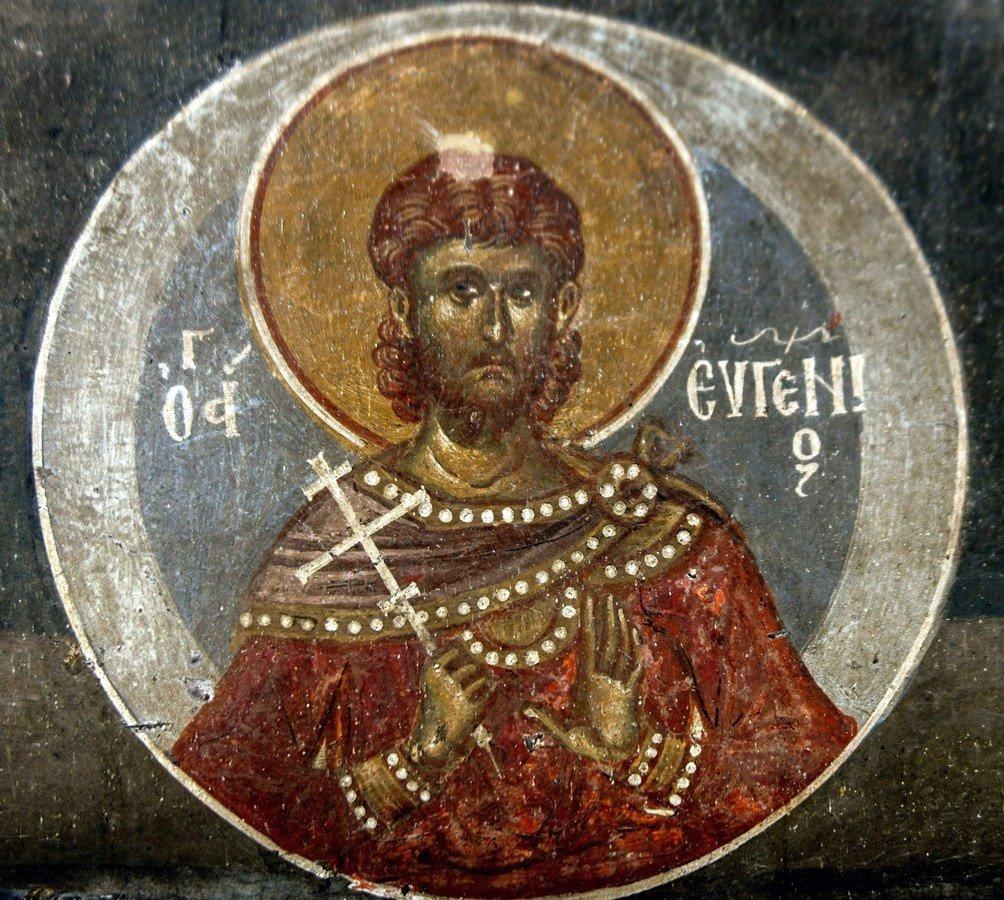 Святой Мученик Евгений Севастийский. Фреска церкви Святого Афанасия ту Музаки в Кастории, Греция. 1383 - 1384 годы.
